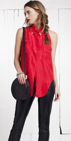 Gorgeous red WAVERLY BLOUSE from The Reformation