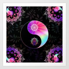 Yin And Yang Bohemian Hippie Spiritual Zen Yoga Mantra Meditation Art Print by inspiredimages Yoga Mantras, Meditation Art, Zen Yoga, Hippie Bohemian, Plant Holders, Yin Yang, Pink Purple, Dream Catcher, Original Art