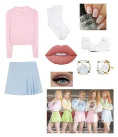 """""""KPOP: Red Velvet ice cream cake outfit """" by montrosecheer on Polyvore featuring Miu Miu, Hue, Lime Crime and Renben"""