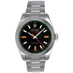 Rolex Stainless Steel Green Milgauss Wristwatch Ref 116400V | From a unique collection of vintage wrist watches at http://www.1stdibs.com/jewelry/watches/wrist-watches/