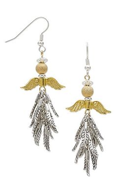 """Earrings with Antiqued Silver-Plated """"Pewter"""" Charms, Gold-Plated """"Pewter"""" Beads and Gold-Plated Brass Stardust Beads"""