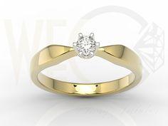Pierścionek z żółtego i białego złota z brylantem/ Ring made from yellow and white gold with brilliant / 2 486 PLN #ring #brilliant #gold #jewellery