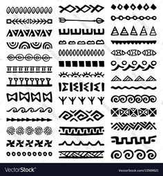Doodle Patterns 693976623803652333 - Collection of Hand Drawn Borders in Ethnic Style. Tribal Patterns, Doodle Patterns, Zentangle Patterns, Mandala Design, Mandala Art, Hand Drawn Border, Aztec Art, Aztec Designs, Diy Carpet