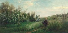 Trademark Global Charles Daubigny 'Spring, Canvas Art - 47 x 24 Oil On Canvas, Canvas Art, Canvas Prints, Barbizon School, Art Database, Art Graphique, Artist Canvas, Great Artists, Landscape Paintings