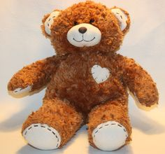 "BUILD A BEAR Stitched Heart Bear 17"" Curly hair Roars Plush Lovey Stuffed Animal"