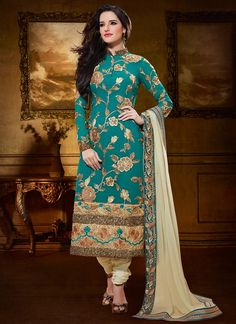 Impressive Teal Blue Embroidered Churidar Suit