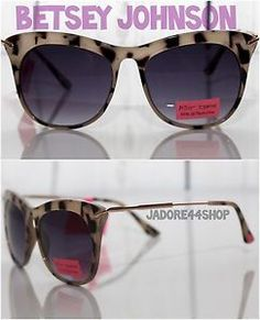 3f21707717 New Betsey Johnson Leopard Gold Metal Plastic Frame Cat Eye Sunglasses  Shades