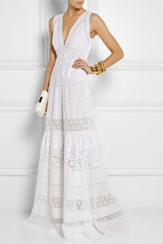 Roberto Cavalli Broderie anglaise cotton maxi dress