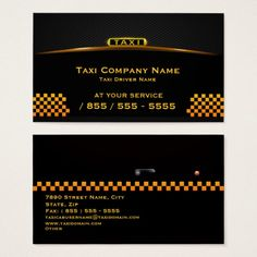 Cab Company Taxi Driver Business Card Taxis Cards