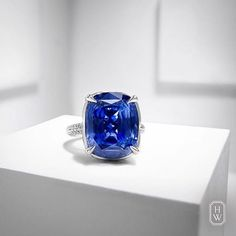 I want to dive In that gorgeous blue @fashion_bgig  Look at this exceptional #HarryWinston's Cushion-Cut Sapphire Ring, featuring a 23.62-carat center stone surrounded by a delicate micropavé diamond halo.  @harrywinston