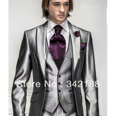 2014 Satin Bright Silver With Black Brim Man Groom Tuxedos Wedding Suits Prom/Formal Suit (Jacket+Pants+Vest+Tie00-4