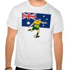 Rugby player kicking australia flag tee shirts. illustration of Rugby player kicking ball front view with Australia flag in background. #illustration #Rugbyplayer #rwc #rwc2015 #rugbyworldcup