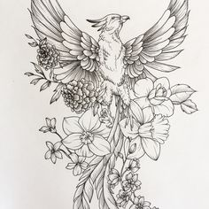 Swipe for detail pictures on my latest piece. This was such a fun challenge and I loved experimenting with some new animals! Feel free to send me new ideas! Thank you to all of the people who have admired or purchased my work. The support has been phenomenal! #art #feathers #tattoo #sketch #sketchbook #ink #line #pheonix #lion #flowers #blooms #bloom
