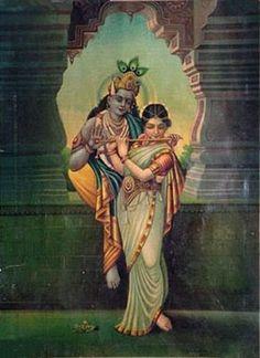 Radha plays Krishna's flute (c. 1920s?)   Haribol!