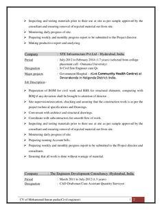 sample civil engineering resume CV of Mohammed Imran Pasha ( Civil Site Engineer Cum QS)