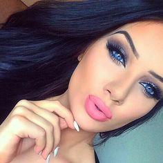 Grey eye makeup & pink lips