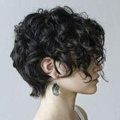 corte de cabello rizado corto de un lado y largo de otro - Buscar con Google