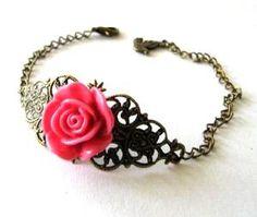 Fuchsia Pink Resin Flower Bracelet Jewelry #wanelo