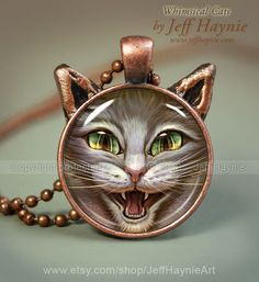 Hissing Cat pendant, Grey Tabby necklace resin pendant, cat jewelry, Pyscho Cat jewelry, Cat Scratch Jewelry Picture Pendant