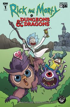 Rick & Morty vs Dungeons & Dragons RE Cover Dungeons And Dragons, Comic Book Covers, Comic Books, Newbury Comics, Dragon Comic, Rick And Morty Poster, Dysfunctional Family, Thing 1, School Games