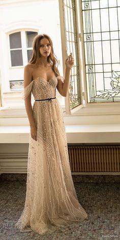 eisen stein 2018 bridal off the shoulder sweetheart neckline full embellishment elegant champagne modifed a line wedding dress open back sweep train (7) mv