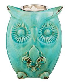 Another great find on #zulily! Turquoise Fleur-de-Lis Owl Firepot #zulilyfinds