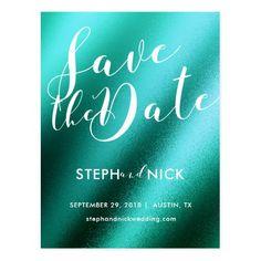 Teal elegant script wedding save the date postcard