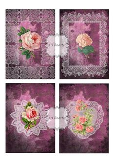 PURPLE Scrapbook Paper Digital Collage Sheet by ArtRooster on Etsy