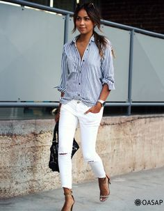 Classic Blue And White Striped Button Down Shirt m.OASAP.com