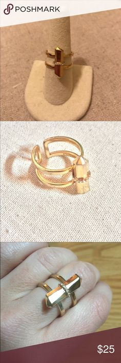 Stella & Dot Gold Rebel Ring Stella & Dot Gold Rebel Ring. Excellent condition. Gold w pave detailing. Adjustable fit. No trades/no pp. Stella & Dot Jewelry Rings