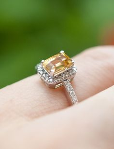 Colette One Of A Kind Citrine Engagement Ring in White Gold - Gemstone shown on hand finger