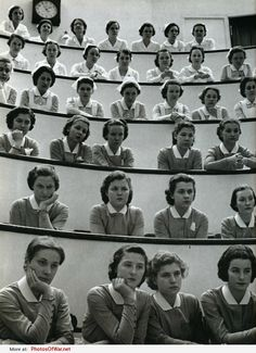 Student nurses in the amphitheatre of the Roosevelt Hospital, New York City, by Alfred Eisenstaedt, 1938