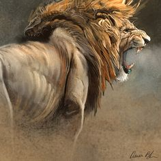 """When The King Speaks"" Poster - The Art of Aaron Blaise Lion Images, Lion Pictures, Big Cats Art, Cat Art, Wildlife Paintings, Wildlife Art, Lion Painting, Lion Wallpaper, Le Roi Lion"