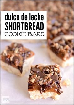 This Dulce de Leche Shortbread Cookie Bar Recipe is a grown-up cookie bar. Its like the Tollhouse Cookie Bar grew up, went to college, worked in corporate America, took a trip to Italy and came back to develop a start-up. It's complex. It's rich. It's not meant for kids. It's an adult cookie bar.