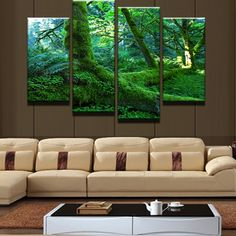 4 Panel Modular Picture HD Printed Green Tree Landscape Modern Home Wall Decor Canvas Picture Art Painting Canvas Frame Artwork Canvas Frame, Canvas Wall Art, Painting Canvas, Canvas Pictures, Print Pictures, Landscape Arquitecture, Watercolor Landscape Paintings, Panel Wall Art, Home Decor Paintings