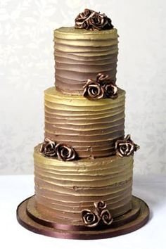 Chocolate Gold Butter Cream Cake - Le Papillon Patisserie