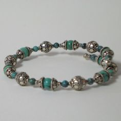 Sterling Silver and Turquoise beaded bracelet on by SankaraDesigns