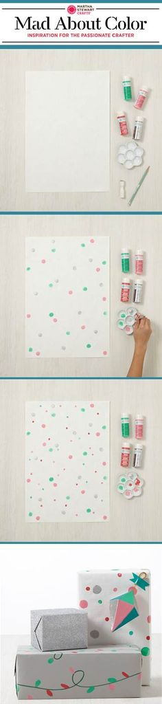 DIY Custom gift wrap with paints from #marthastewartcrafts