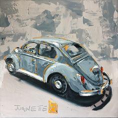 Gray beetle  Oil impasto on board  By Juanette Menderoi