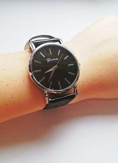 Kup mój przedmiot na #vintedpl http://www.vinted.pl/akcesoria/bizuteria/12623855-zegarek-geneva-pikowany-czarny-nowy-idealny-na-prezent