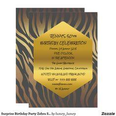 Surprise Birthday Party Zebra Skin Glam 11 Cm X 16 Cm Invitation Card