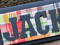 Pottery Barn Madras Stacked Name Plaque, 7-10 Letters, Wall Letters, Painted Letters, Wood Letters,. $85.00, via Etsy.