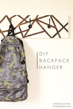 Learn how to make this DIY Backpack Hanger to help get organized for back to school! Step-by-step instructions and photo tutorial at IHeartNapTime.com