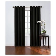 """Round & Round Thermawave Blackout Curtain Black (52""""x63"""") Eclipse"""