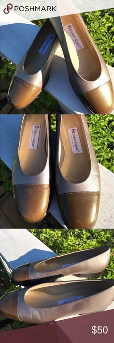 Etienne Aigner Metallic Patent Leather Shoes 8M Etienne Aigner Metallic Patent Leather Shoes 8M. These are the Piroutte collection. Worn once. Stored. Minor scuffing from storage. Top of Patent leather needs a little cleaning, small black mark. 🚫trades. Please ask all questions questions prior to buying Etienne Aigner Shoes Flats & Loafers