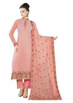Peach Georgette Churidar Suit, -  £128.00,  #Churidarsuitsuk  #Pakistanisalwarkameezuk  #Onlinechuridaruk  #Designersalwarkameezuk  #Shopkund