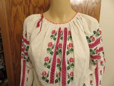 Eastern European peasant blouse, floral embroidery