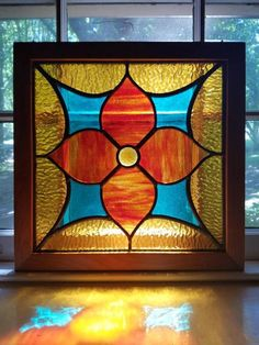 Stained glass in Cherry frame 14 square Stained Glass Frames, Stained Glass Quilt, Stained Glass Patterns, Leaded Glass, Stained Glass Windows, Mosaic Glass, Stained Glass Suncatchers, My Glass, Square Quilt