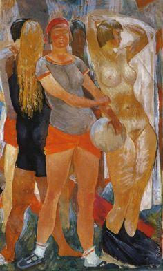 Самохвалов А.Н. Девушки. Этюд к неосуществленной картине «Радость жизни». 1928