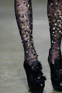 Rhinestone / Embroidered Tights!!! #hosiery #rhinestones